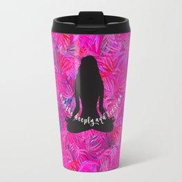 Yoga Lotus Pink Tropical Motivational Quote Travel Mug