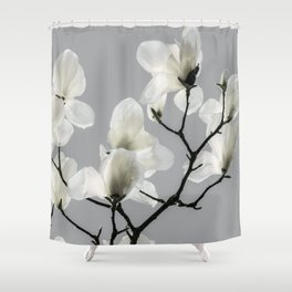 Gray Magnolia and White Shower Curtain