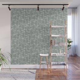 Gray Green Retro Geometric Pattern Wall Mural