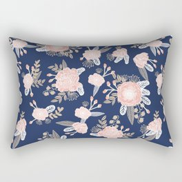 Floral bouquet pastel navy pink florals painted painted metallic pattern basic minimal pattern print Rectangular Pillow
