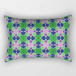 Islamic geometric star motif in green, blue and purple Rectangular Pillow