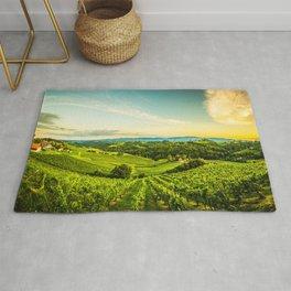 Vineyards landscape panorama. South Styria, Austria Rug