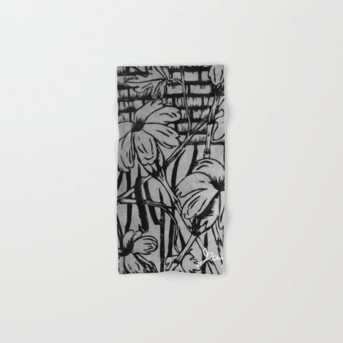 Black and White Palm Flowers by my Mom Hand & Bath Towel