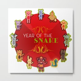 Chinese Zodiac - Year of the Snake Metal Print