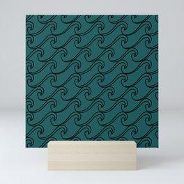 Sea Waves at Night Pattern - Dark Turquoise Mini Art Print