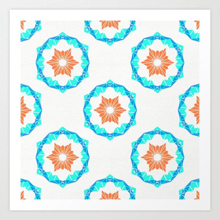 Blue & Orange Stamped Tile Pattern Art Print