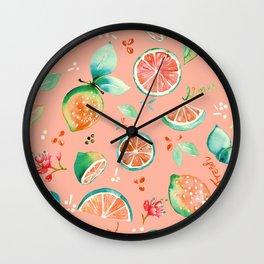 Watercolour Lime Pattern Peach Wall Clock