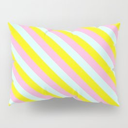 Pink, blue and yellow stripes Pillow Sham