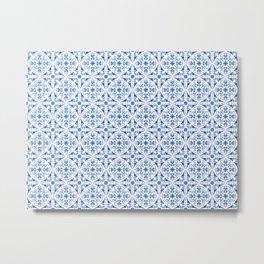 Blue Porcelain Pattern Metal Print