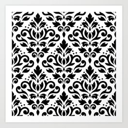 Scroll Damask Big Pattern Black on White Art Print