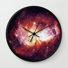 Shining Nebula - Red Wall Clock