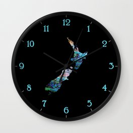 NEW ZEALAND MAP PAUA Wall Clock