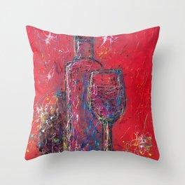 Fun Colorful Modern Wine Art  Fun Colorful Modern Wine Art (wine bottle & glasses) by lena owens Throw Pillow