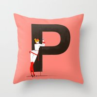helvetica Throw Pillows featuring Patricia & Helvetica by ChicksAndType