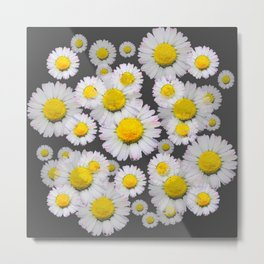CHARCOAL GREY GARDEN OF SHASTA DAISY FLOWERS Metal Print
