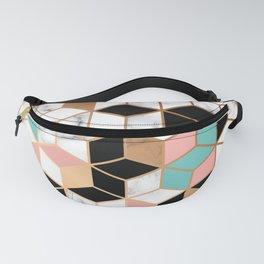 Teal, Pink, Black and White Abstract Cube Pattern on Marble Texture Fanny Pack