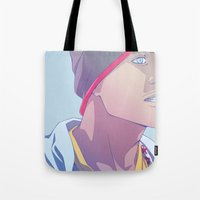 jesse pinkman Tote Bags featuring Down (Jesse Pinkman - Breaking Bad) by Pana Stamos