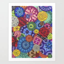 Rainbow Mandala Collage 2 Art Print