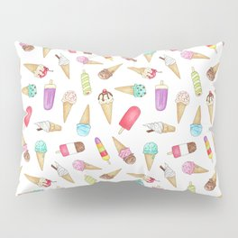 Scattered Ice Creams and Ice Lollies Pillow Sham