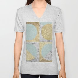 Marble and gold circles pattern IV Unisex V-Neck