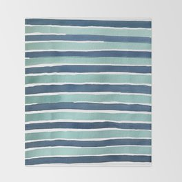 Aqua Teal Stripe Throw Blanket