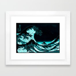 The Great Wave : Dark Teal Framed Art Print