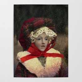 Red hat vintage Christmas doll Poster