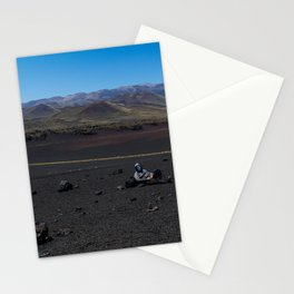 Masked man resting on the volcano Stationery Cards