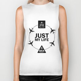 """Funny Lifestyle Print for T-Shirt: """"Life Between JFK and BKK"""". Sign with Airports Codes  Biker Tank"""