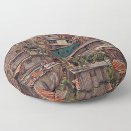 Guatemala City Slum Artistic Illustration Old and Chaotic Style Floor Pillow