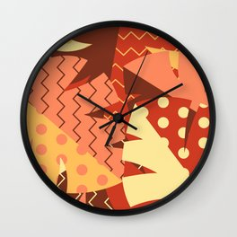 Patterned Autumn Leaves (Modern Retro Bold Colors) Wall Clock