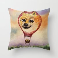 doge Throw Pillows featuring Wonderful Journey of Doge by anaxjor