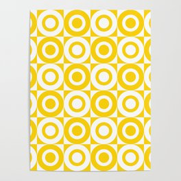 Mid Century Square and Circle Pattern 541 Yellow Poster