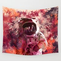 spaceman Wall Tapestries featuring Watercolor Spaceman by Mark Kriegh