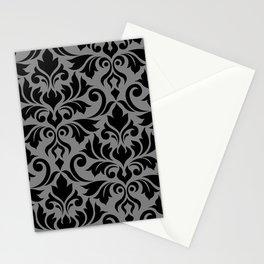 Flourish Damask Art I Black on Gray Stationery Cards