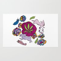 cannabis Area & Throw Rugs featuring Cannabis Bunnies by Ri 13