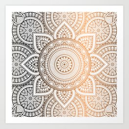 Gold Bronze Mandala Pattern Illustration Art Print
