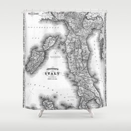 Vintage Map of Italy (1864) BW Shower Curtain