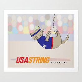 USA String - Home to Gobi and the Great Cat Athletes Art Print