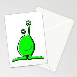 Funny green alien cartoon Stationery Cards
