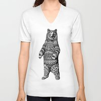 bioworkz V-neck T-shirts featuring Ornate Grizzly Bear by BIOWORKZ
