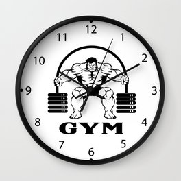 Bodybuilder with barbell Wall Clock
