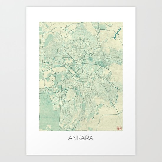 Ankara  Map Blue Vintage Art Print