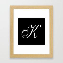 Elegant And Stylish Black And White Monogram K Framed Art Print