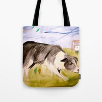 border collie Tote Bags featuring Border Collie by Caballos of Colour