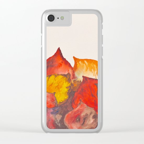 Autumn abstract watercolor 02 Clear iPhone Case
