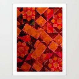 Red and Black Geometric Art Print
