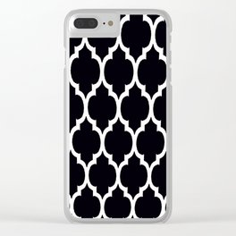 Moroccan Black and White Lattice Moroccan Pattern Clear iPhone Case