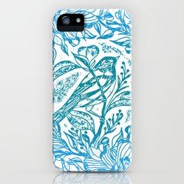 Songbird In Magnolia Wreath, Blue Linocut iPhone Case