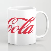 coca cola Mugs featuring Coca Cola by ZenthDesigns